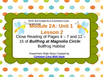 NYS 3rd Grade ELA Common Core Module 2A Unit 1 Lesson 2 PowerPoint Presentation