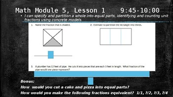 NYS 3rd Grade Math Module 5 Fraction Slides *EngageNY Aligned*