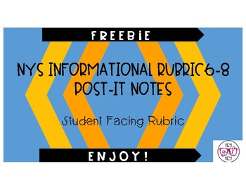 NYS 6-8 Rubric Post-It Notes - Google Drive Resource
