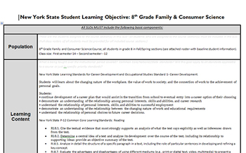 NYS APPR SLO and Pre-test for 8th Grade Family & Consumer Science