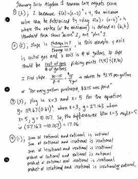 NYS Algebra 1 Common Core Regents Exam Part 1 Answer Key - January 2016