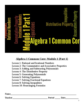 NYS Algebra Common Core Module 1 Lesson Packet