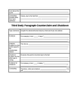 NYS Argument Essay Body Paragraph Graphic Organizer