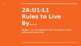 NYS CC ELA GR6 Module 2A Unit 1 Lesson 1: Rules to Live By