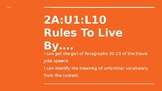 NYS CC ELA GR6 Module 2A Unit 1 Lesson 10: Rules to Live By