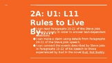 NYS CC ELA GR6 Module 2A Unit 1 Lesson 11: Rules to Live By