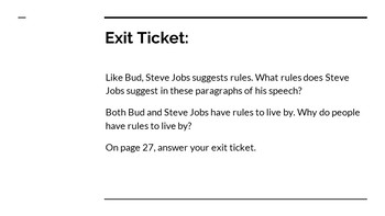 NYS CC ELA GR6 Module 2A Unit 1 Lesson 6: Rules to Live By
