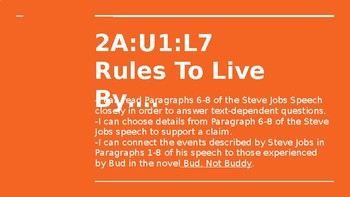 NYS CC ELA GR6 Module 2A Unit 1 Lesson 7: Rules to Live By