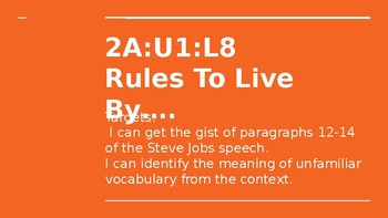 NYS CC ELA GR6 Module 2A Unit 1 Lesson 8: Rules to Live By