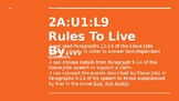 NYS CC ELA GR6 Module 2A Unit 1 Lesson 9: Rules to Live By