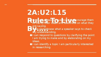 NYS CC ELA GR6 Module 2A Unit 2 Lesson 15: Rules to Live By