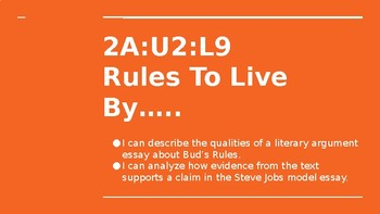 NYS CC ELA GR6 Module 2A Unit 2 Lesson 9: Rules to Live By