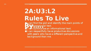 NYS CC ELA GR6 Module 2A Unit 3 Lesson 2: Rules to Live By
