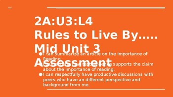 NYS CC ELA GR6 Module 2A Unit 3 Lesson 4: Rules to Live By