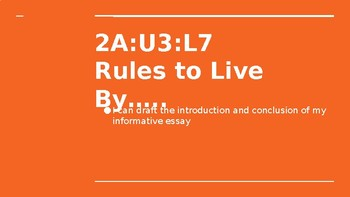 NYS CC ELA GR6 Module 2A Unit 3 Lesson 7: Rules to Live By