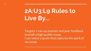 NYS CC ELA GR6 Module 2A Unit 3 Lesson 9: Rules to Live By