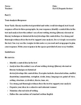 NYS CC ELA Regents Part 3 Text-Based Response Graphic Organizer & Outline