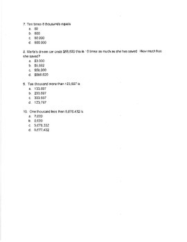 NYS Common Core NY 4th Grade Eureka Math Module 1 Lessons 1-6 Assessment