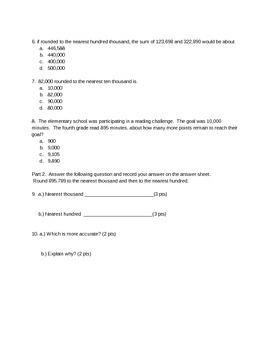NYS Common Core NY 4th Grade Eureka Math Module 1 Lessons 6-10 Assessment