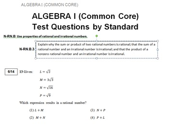 NYS Common Core Algebra Regents Questions by Standard