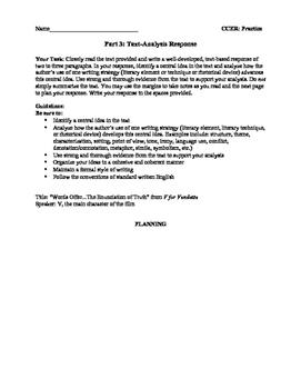 NYS Common Core English Regents Text Analysis (Part 3) Practice: Rhetoric