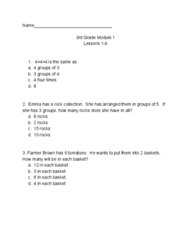 NYS Common Core Eureka Math 3rd Grade Math Module 1 Lessons 1-6 Assessment
