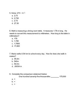 NYS Common Core Eureka Math NY 5th Grade Math Module 1 Lessons 1-6 Assessment