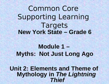 """NYS Common Core """"I can"""" supporting learning targets for ELA module 1, unit 2"""