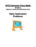 NYS Common Core Math Application Problems- Grade 1 Module 1