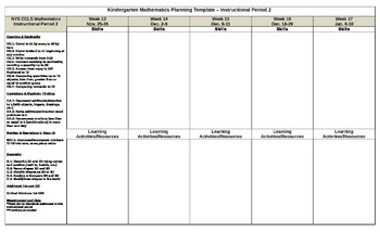 Kindergarten NYS Common Core Mathematics Planning Guide Period 2