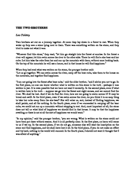 NYS Common Core Regents ELA Exam, Part 3 Practice- the Two Brothers