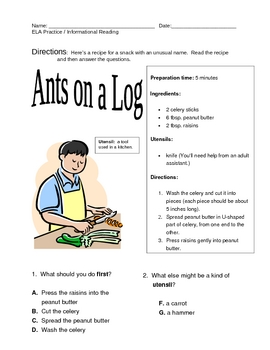 NYS ELA Practice -- Informational Reading -- Ants on a Log
