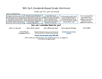 NYS ELA Standards Based Grading Google Sheets Workbook