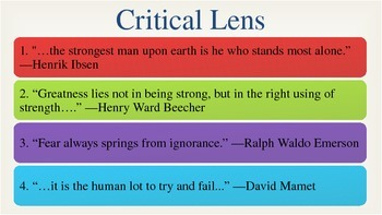 NYS English Regents Critical Lens Powerpoint