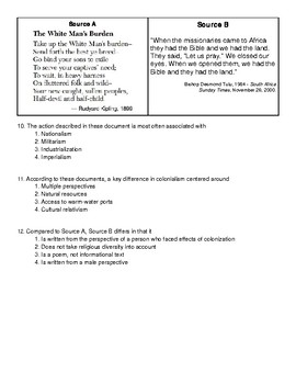 NYS Global 10 Framework Regents Exam - 10.4 Test Bank