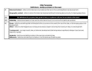 NYS Global Regents - Social Studies Constructed Response Template