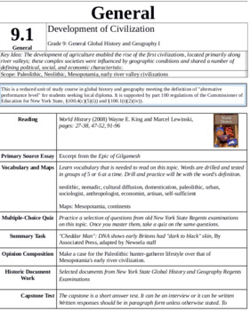 NYS Global Studies 9 Special Education Modified Curriculum