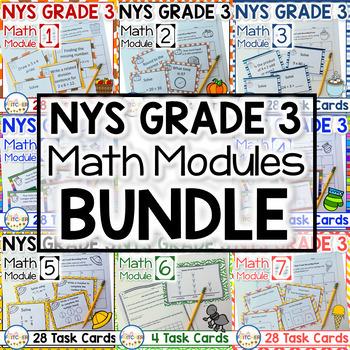 NYS Grade 3 Math Modules Task Cards BUNDLE!