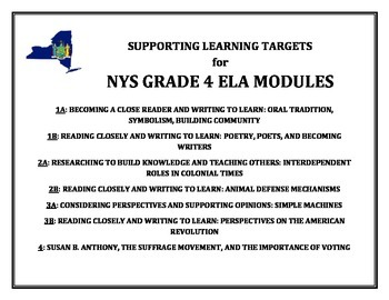 NYS Grade 4 ELA Supporting Learning Targets