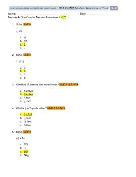 NYS Grade 5 Engage NY Module 4 Assessment/Key/Standards mu