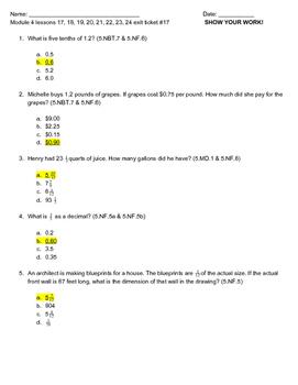 NYS Grade 5 Engage NY Module 4 Skill Checks (Exit Tickets), Standards and Keys