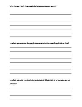 NYS Grade 5 UDHR Article- Module 1 ELA