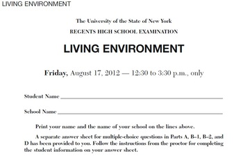NYS Living Environment Regents August 2012  ExamView Question Bank