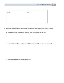 NYS Math - Grade 2 - Module 1 End of Module Review Sheet (with Answer Key)