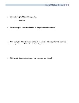 NYS Math - Grade 2 - Module 2 End of Module Review Sheet (with Answer Key)