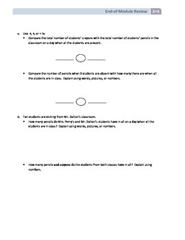 NYS Math - Grade 2 - Module 3 End of Module Review Sheet (with Answer Key)