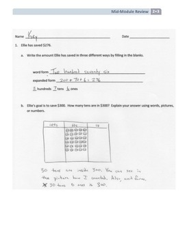 NYS Math - Grade 2 - Module 3 Mid-Module Review Sheet (with Answer Key)