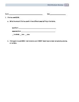 NYS Math - Grade 2 - Module 3 Mid-Module Review Sheet (wit
