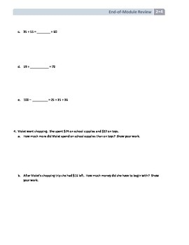 NYS Math - Grade 2 - Module 4 End of Module Review Sheet (with Answer Key)