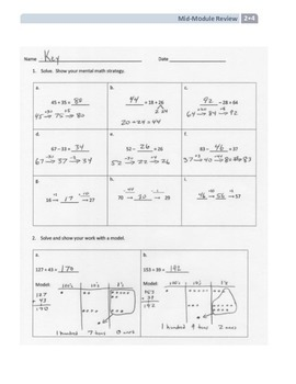 NYS Math - Grade 2 - Module 4 Mid-Module Review Sheet (with Answer Key)